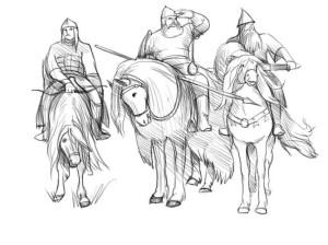 443Богатырь на коне на рисовать