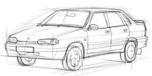 Как-нарисовать-ВАЗ-2115-карандашом-поэтапно-3