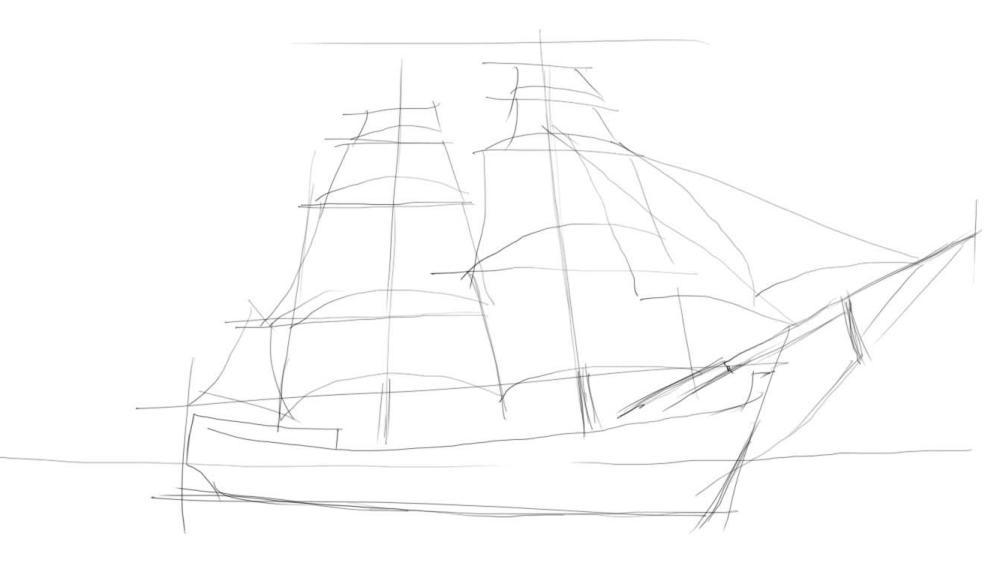Как нарисовать корабль на море поэтапно 177