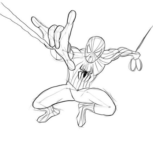 Как нарисовать человек паук 2099 карандашом поэтапно