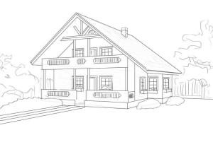 Как-нарисовать-дом-карандашом-поэтапно-4