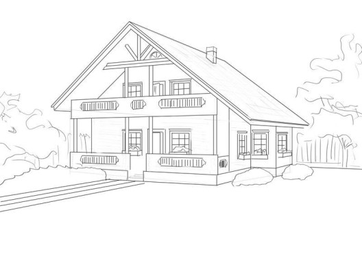 Как нарисовать дом : поэтапное