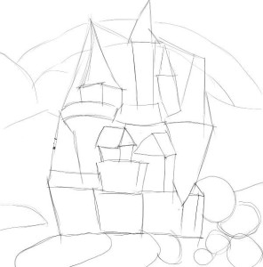 Как-нарисовать-замок-карандашом-поэтапно-1