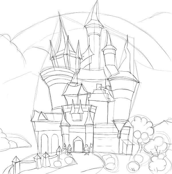 Как нарисовать дом из бревен поэтапно