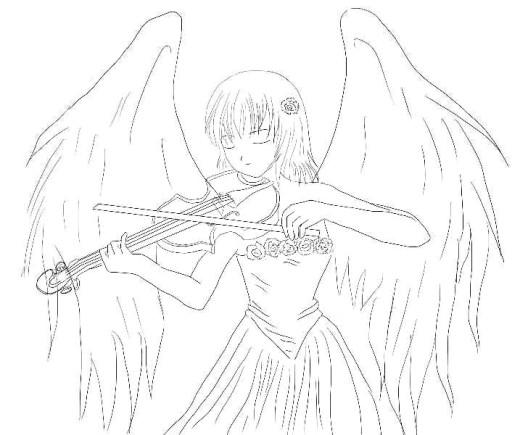 легкие демона карандашом и рисунок ангела