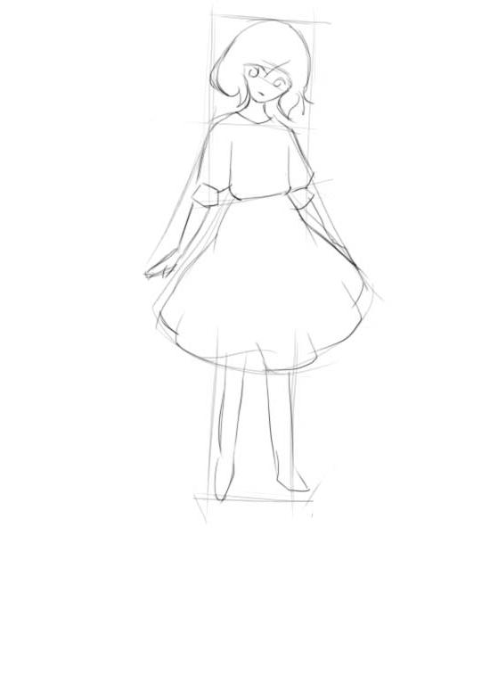 Как нарисовать девочку поэтапно в платье