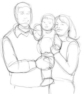 Как-нарисовать-маму-и-папу-карандашом-поэтапно-3