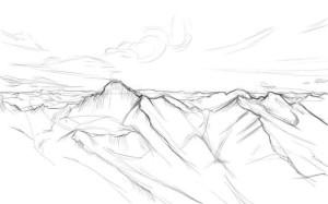 Как-нарисовать-горы-карандашом-поэтапно-3