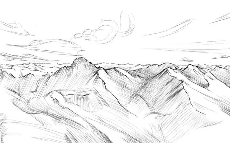 Как нарисовать горы