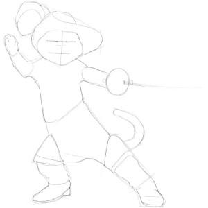 Как-нарисовать-кота-в-сапогах-карандашом-поэтапно-2