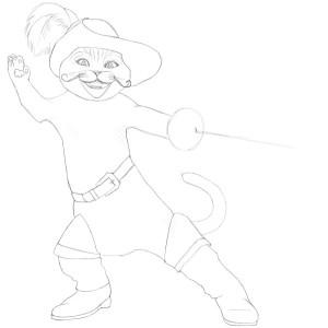 Как-нарисовать-кота-в-сапогах-карандашом-поэтапно-3
