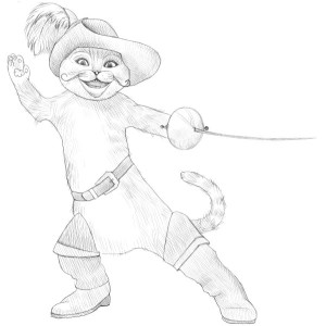 Как-нарисовать-кота-в-сапогах-карандашом-поэтапно-4