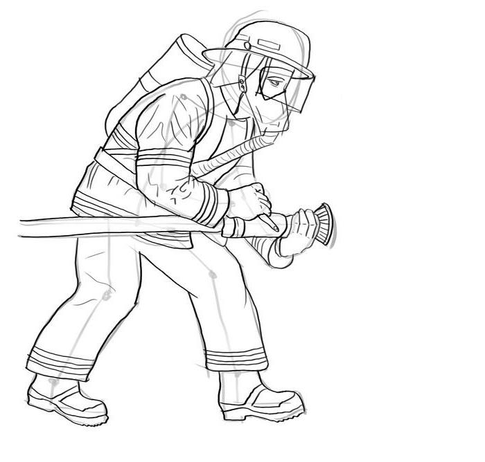 Как нарисовать пожарного