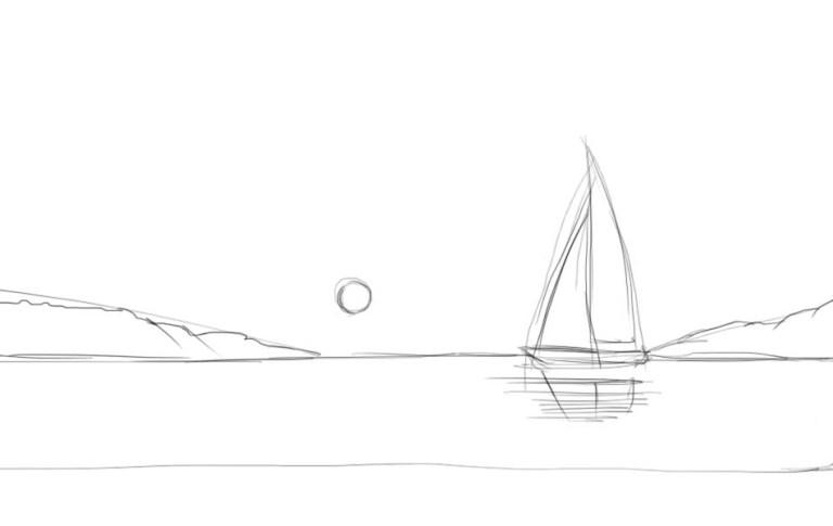Рисовать рассвет на море