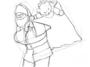 Как-нарисовать-Деда-Мороза-карандашом-поэтапно-3