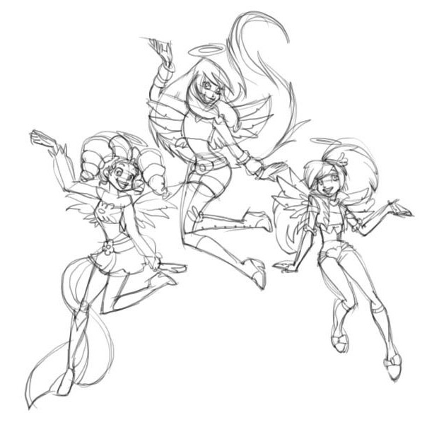 рисунки друзья ангелов карандашом: