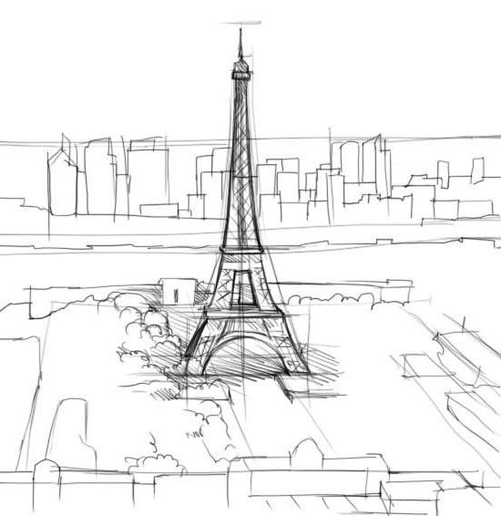Как нарисовать париж с карандашом поэтапно