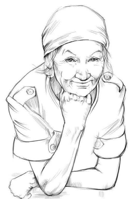 Бабушка карандашом поэтапно
