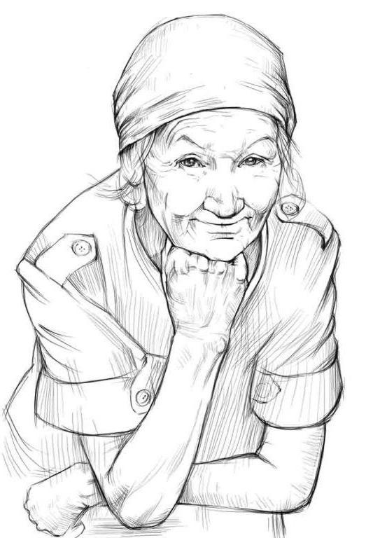 Рисуем бабушку карандашом поэтапно 27