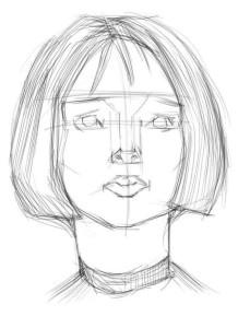 Как-нарисовать-брюнетку-карандашом-поэтапно-2