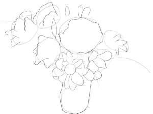 Как-нарисовать-букет-цветов-карандашом-поэтапно-2