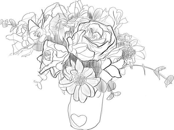 Как нарисовать букет цветов?