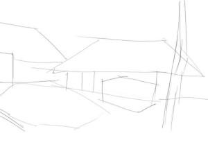 Как-нарисовать-деревню-карандашом-поэтапно-1