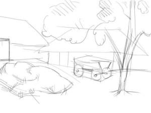 Как-нарисовать-деревню-карандашом-поэтапно-2