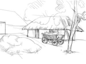 Как-нарисовать-деревню-карандашом-поэтапно-3