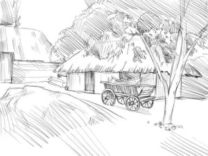 Как-нарисовать-деревню-карандашом-поэтапно-4