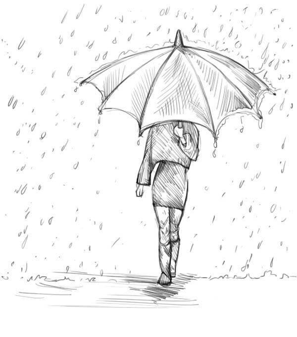Нарисовать поэтапно дождь карандашом поэтапно