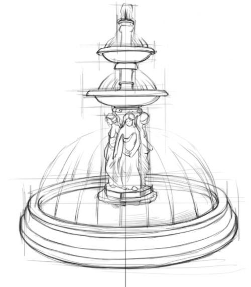 как нарисовать фонтан рисуем поэтапно фонтан в парке