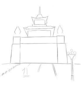 Как-нарисовать-храм-Будды-карандашом-поэтапно-2