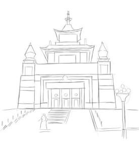 Как-нарисовать-храм-Будды-карандашом-поэтапно-3