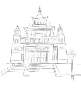 Как-нарисовать-храм-Будды-карандашом-поэтапно-4
