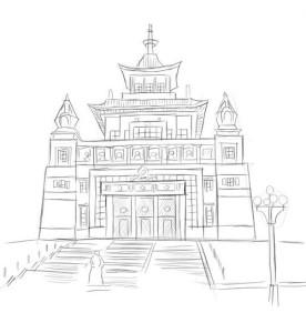 Как-нарисовать-храм-Будды-карандашом-поэтапно-5