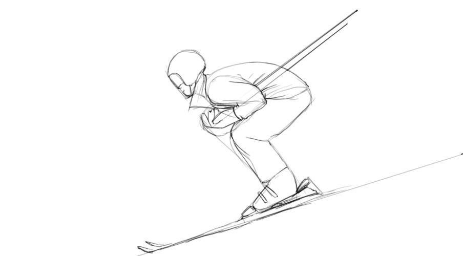 Спортсмен карандашом поэтапно