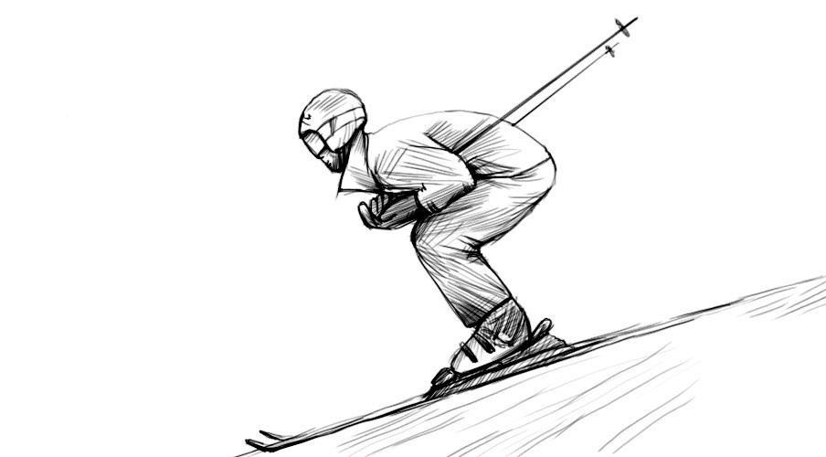 Как нарисовать лыжника
