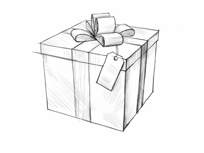 Рисунок карандашом подарок