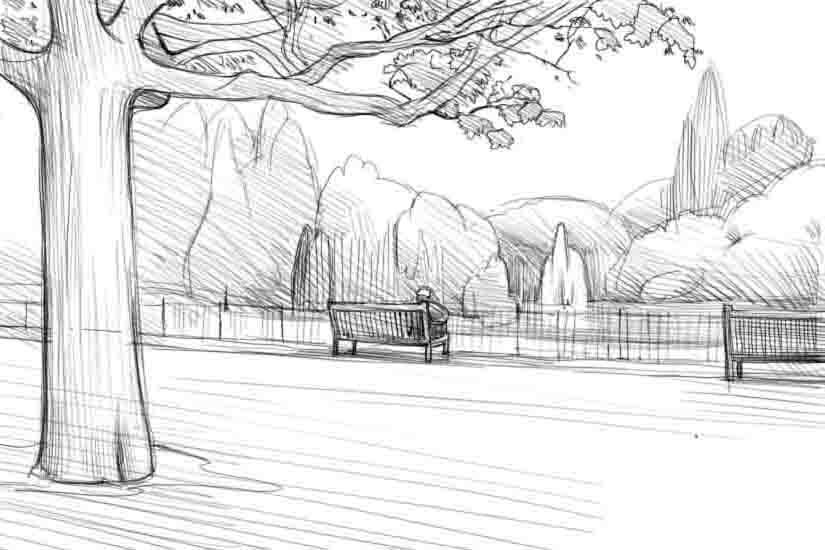 Как нарисовать парк