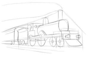 Как-нарисовать-поезд-карандашом-поэтапно-2