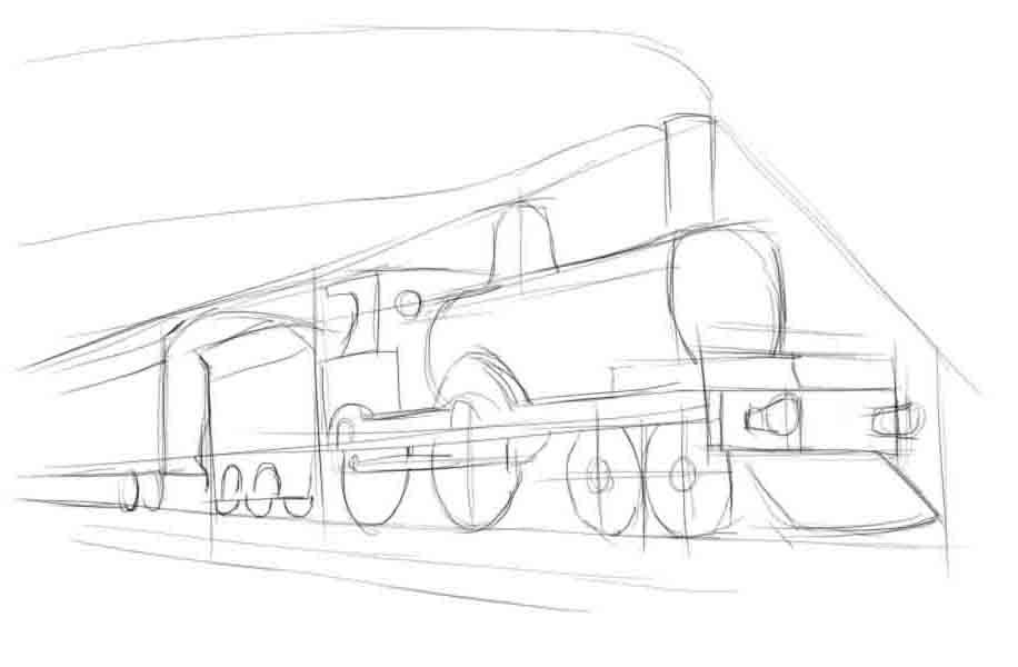 Поэтапный рисунок поезда