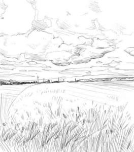 Как-нарисовать-поле-карандашом-поэтапно-4