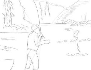 Как-нарисовать-рыбака-карандашом-3