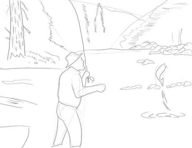 рисунок рыбак на озере