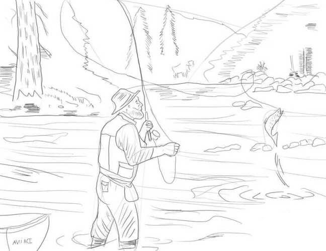 Как нарисовать рыбака