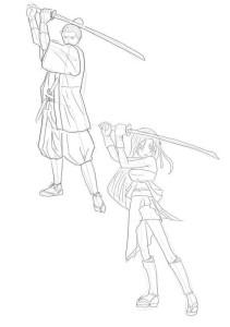 Как-нарисовать-самурая-карандашом-поэтапно-4