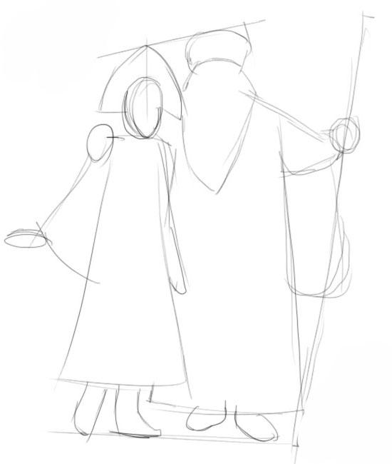 Как нарисовать Деда Мороза и Снегурочку поэтапно? картинки