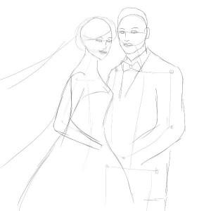 Как-нарисовать-свадьбу-карандашом-поэтапно-3