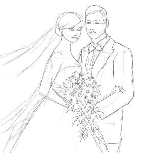 Как-нарисовать-свадьбу-карандашом-поэтапно-4
